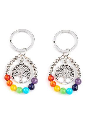 www.snowfall-beads.nl - Natuursteen Rainbow Chakra sleutelhanger 65x33mm