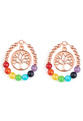 www.snowfall-beads.com - Natural stone Rainbow Chakra pendant with metal tree 41x33mm