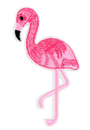 www.snowfall-beads.de - Stoff Patch Flamingo 105x55mm
