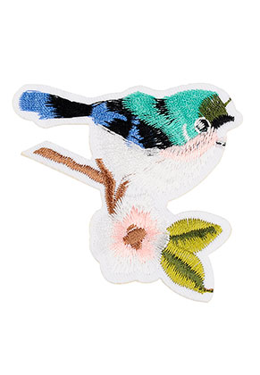 www.snowfall-beads.com - Textile patch bird 70x70mm