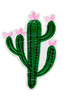 www.snowfall-beads.nl - Stoffen patch cactus 80x55mm - D25308
