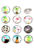 www.snowfall-fashion.com - Mix DoubleBeads EasyButton press studs with tropical print size L - D25388
