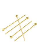 www.snowfall-beads.de - Brass Nietstifte mit Kugel 20mm (0,6mm dick) (± 65 St.) - D25476