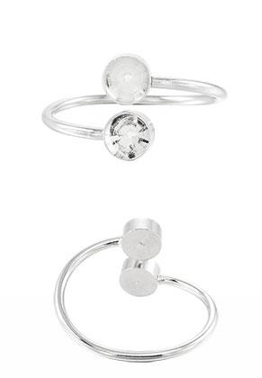 www.snowfall-beads.nl - Metalen ring Ø 18mm met kastjes voor 6mm similistenen