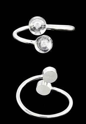 www.snowfall-beads.fr - Bague de métal Ø 18mm avec cadres pour 6mm imitations de diamant