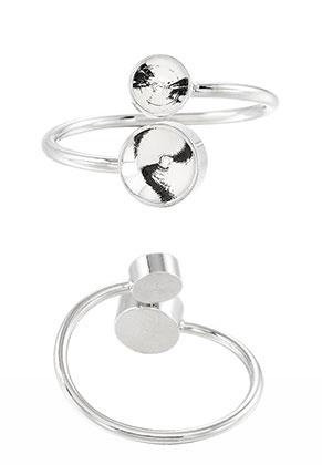 www.snowfall-beads.de - Metall Ring Ø 18mm mit Fassungen für 8mm und 6mm Similisteine