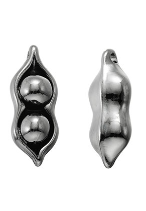 www.snowfall-beads.com - Metal pendant peas in pod 31x12mm