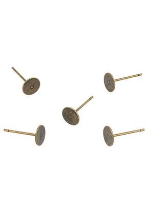 www.snowfall-beads.de - Brass Ohrstecker 12x6mm für Klebstein (13 Paar)