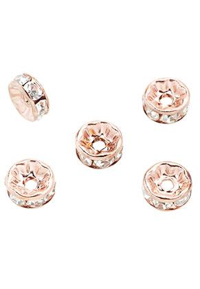 www.snowfall-beads.nl - Brass kralen rondel met strass 8x3,5mm