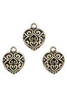 www.snowfall-beads.com - Baroque style metal pendants/charms heart 16x13mm - D25875