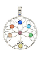 www.snowfall-beads.be - Metalen Rainbow Chakra hanger boom met cateye 54x39mm - D25962