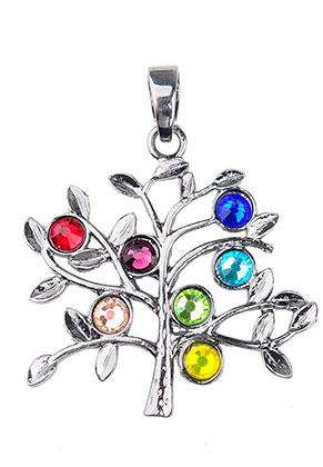 www.snowfall-beads.nl - Metalen Rainbow Chakra hanger boom met strass 51x42mm