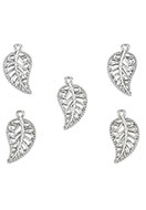 www.snowfall-beads.com - Metal pendants/charms feather/leaf 18,5x10mm - D26036