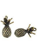www.snowfall-beads.com - Metal pendants 3D pineapple 30x16mm - D26081