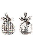 www.snowfall-beads.nl - Metalen hanger ananas met strass 36x20mm - D26210