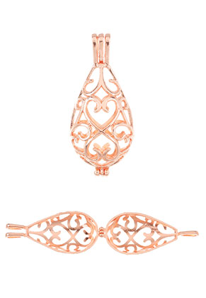 www.snowfall-beads.nl - Metalen hanger engelenroeper/Prayer Box 64x28mm
