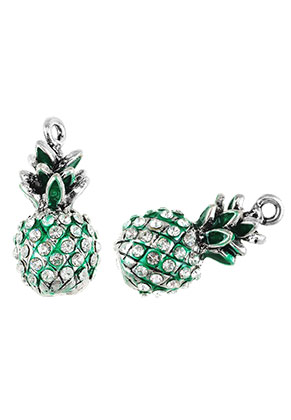 www.snowfall-beads.com - Metal pendants 3D pineapple with strass 25x12mm
