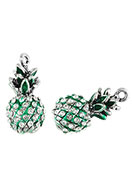 www.snowfall-beads.com - Metal pendants 3D pineapple with strass 25x12mm - D26383