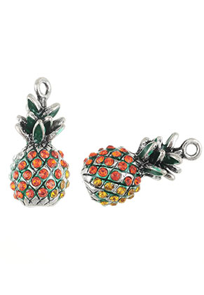 www.snowfall-beads.nl - Metalen hangers 3D ananas met strass 25x12mm