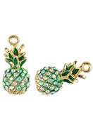 www.snowfall-beads.com - Metal pendants 3D pineapple with strass 25x12mm - D26389