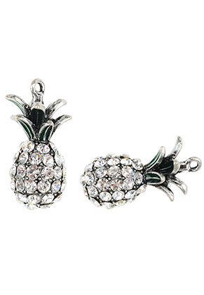 www.snowfall-beads.nl - Metalen hangers 3D ananas met strass 31,5x16mm