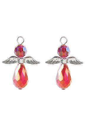 www.snowfall-beads.fr - Pendentifs en métal et verre ange 32x23,5mm