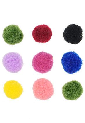 www.snowfall-beads.com - Mix textile pompoms 8-12mm