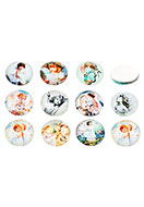 www.snowfall-beads.be - Mix glas plakstenen/cabochons rond met engel 18mm - D26537