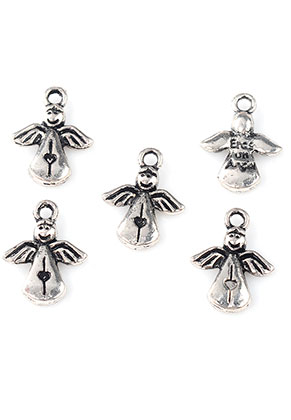 www.snowfall-beads.com - Metal pendants/charms angel 17x12,5mm