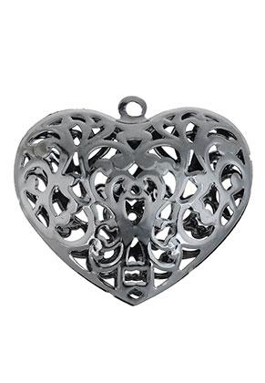 www.snowfall-beads.fr - Pendentifs en métal filigrane coeur 56x53mm
