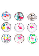 www.snowfall-beads.be - Mix revers pinnen met flamingo's 18x16mm - D26895