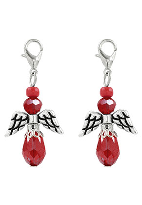www.snowfall-beads.co.uk - Metal and glass pendants angel with clasp 40x19mm