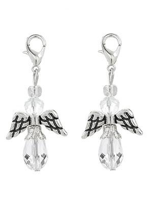 www.snowfall-beads.fr - Pendentifs en métal et verre ange avec fermoir 40x19mm