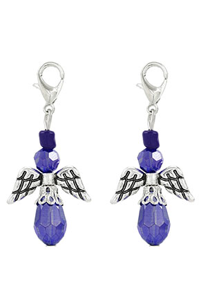 www.snowfall-beads.com - Metal and glass pendants angel with clasp 40x19mm