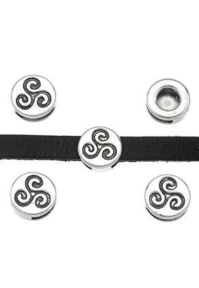 www.snowfall-beads.com - Metal slide-beads flat round 13x5,5mm