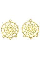 www.snowfall-beads.be - Metalen hangers/tussenzetsels dromenvanger 34x28mm - D27036