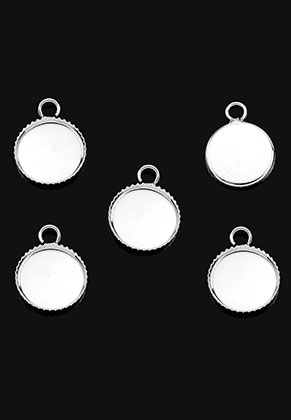 www.snowfall-beads.com - Metal pendants/charms round 15x11mm with setting for 10mm flat back