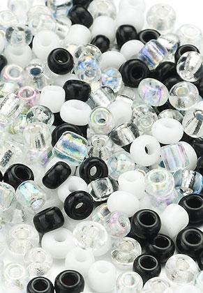 www.snowfall-beads.com - Mix glass seed beads 8/0 3x2-4mm (± 1200 pcs.)
