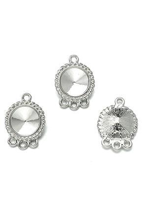 www.snowfall-beads.fr - Pendentifs/entre-deux en métal 25x18mm avec cadre pour 12mm rivoli