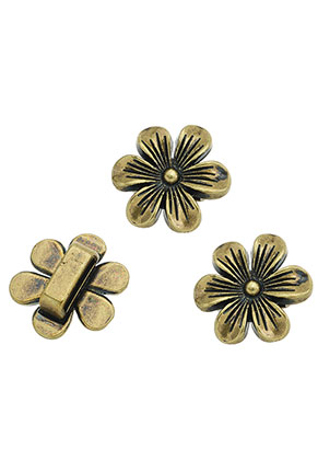www.snowfall-beads.com - Metal slide-beads flower 21x20mm