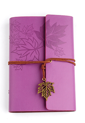 www.snowfall-beads.com - Notebook decorated with leaves 18,5x12,5cm