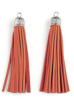 www.snowfall-beads.com - Imitation leather tassels with metal cap 90x13mm