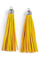 www.snowfall-beads.com - Imitation leather tassels with metal cap 90x13mm - D27957