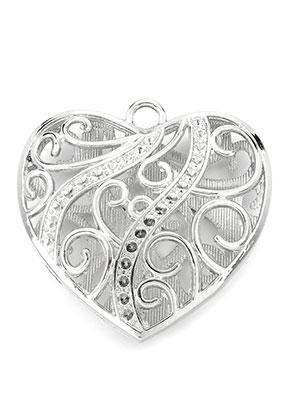 www.snowfall-beads.fr - Pendentif en métal coeur 47mm avec cadres pour 2mm imitations de diamant