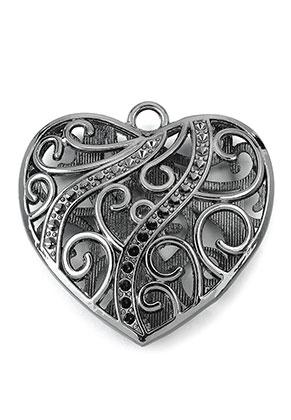 www.snowfall-beads.nl - Metalen hanger hartje 47mm met kastjes voor 2mm similistenen