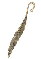 www.snowfall-beads.com - Metal bookmark feather 118x15mm - D28116