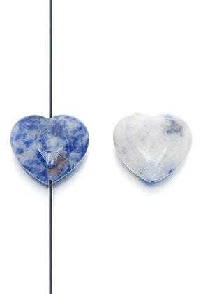www.snowfall-beads.fr - Perle en pierre naturelle Sodalite coeur 25x23mm