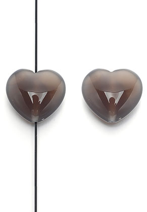 www.snowfall-beads.com - Natural stone bead Grey Agate heart 25x23mm