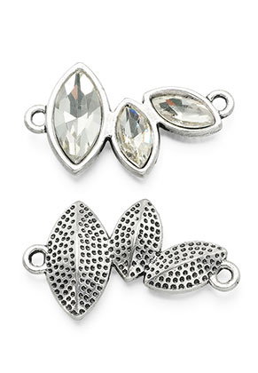 www.snowfall-beads.com - Metal pendants/connectors with strass 32x18mm