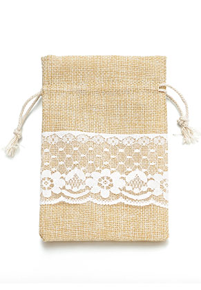 www.snowfall-beads.com - Textile gift bag with lace 15x10cm